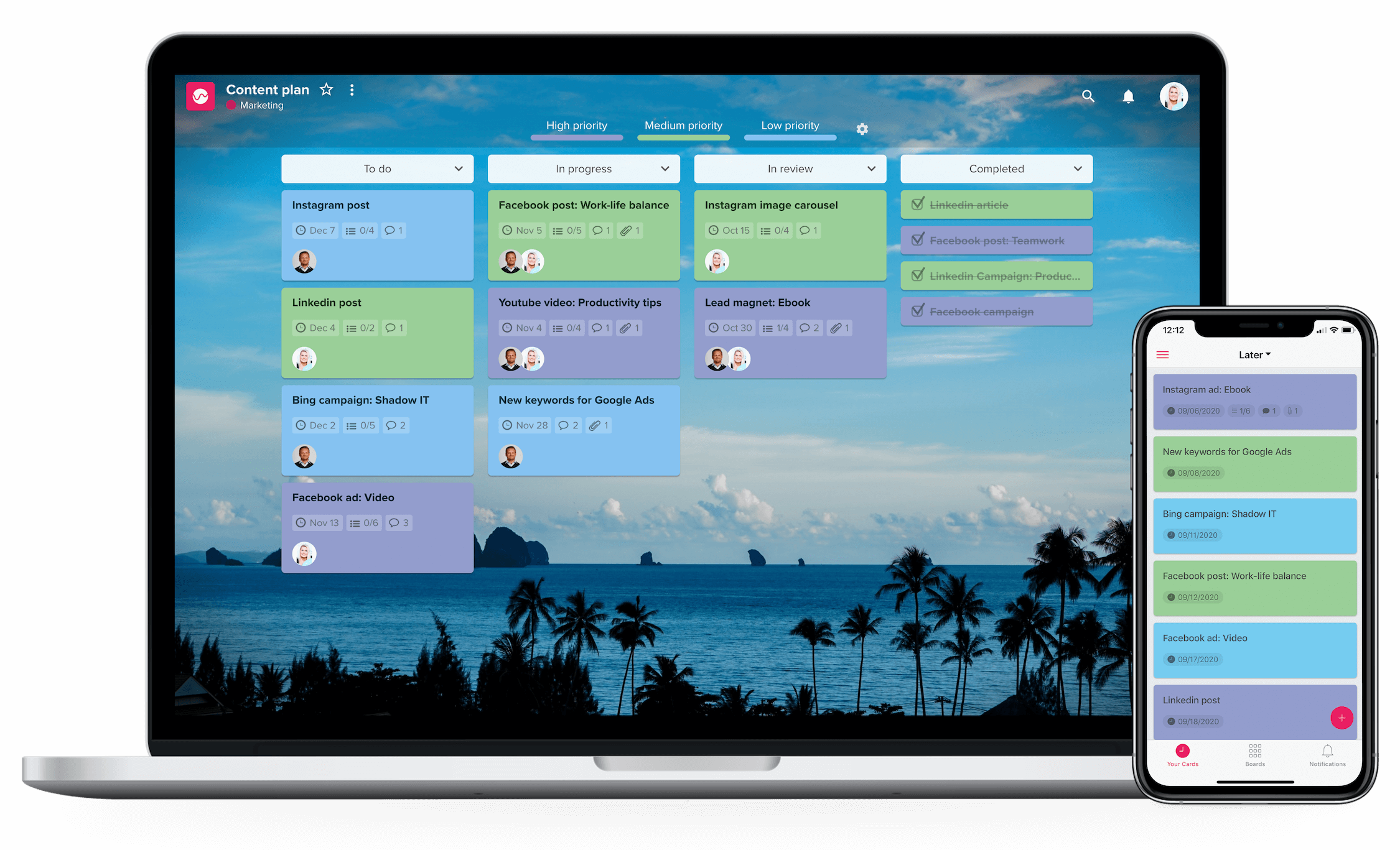 Macbook + iphone - content plan tavle